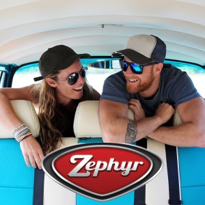 Zephyr sunglasses a girl and bloke in the back of a camper wearing Zephyr hats and sunnies